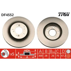 TRW  DF4552 Bremsscheibe Bremsscheibendicke: 28mm, Lochanzahl: 5, Ø: 300mm