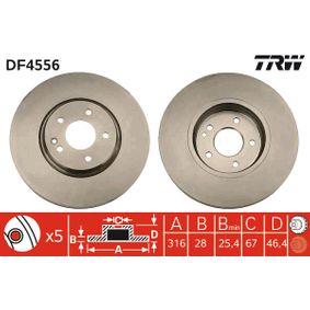 TRW  DF4556 Bremsscheibe Bremsscheibendicke: 28mm, Lochanzahl: 5, Ø: 316mm
