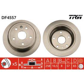 TRW  DF4557 Bremsscheibe Bremsscheibendicke: 10,5mm, Lochanzahl: 5, Ø: 258mm