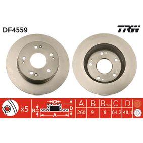 TRW  DF4559 Bremsscheibe Bremsscheibendicke: 9mm, Lochanzahl: 5, Ø: 260mm