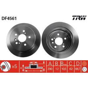 TRW  DF4561 Bremsscheibe Bremsscheibendicke: 12mm, Lochanzahl: 5, Ø: 291mm