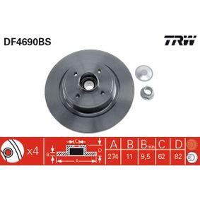 TRW  DF4690BS Bremsscheibe Bremsscheibendicke: 11mm, Lochanzahl: 4, Ø: 274mm