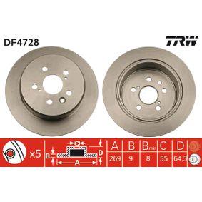 TRW  DF4728 Bremsscheibe Bremsscheibendicke: 9mm, Lochanzahl: 5, Ø: 269mm