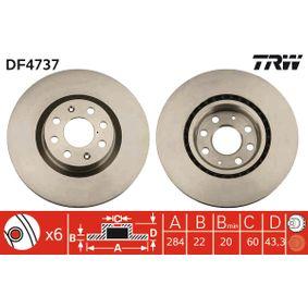 TRW  DF4737 Bremsscheibe Bremsscheibendicke: 22mm, Lochanzahl: 6, Ø: 284mm