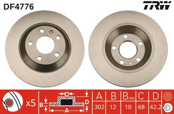 TRW  DF4776 Bremsscheibe Bremsscheibendicke: 12mm, Lochanzahl: 5, Ø: 302mm