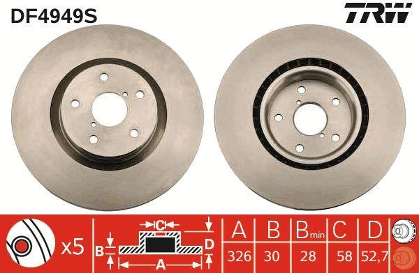 Bremsscheiben DF4949S TRW DF4949S in Original Qualität