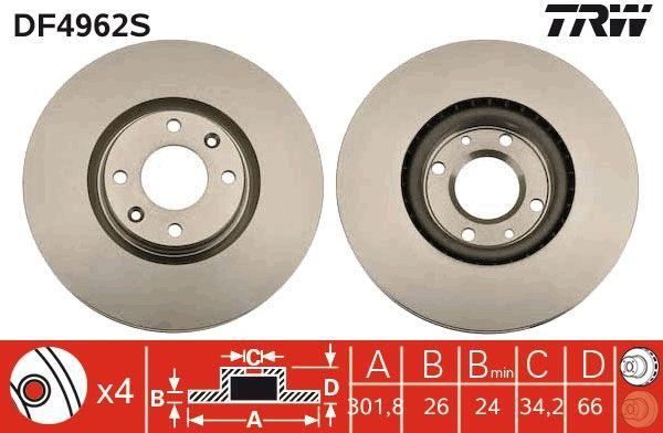 Bremsscheiben DF4962S TRW DF4962S in Original Qualität