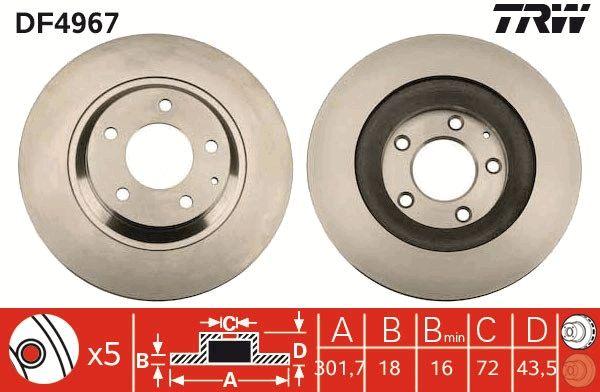 Bremsscheiben DF4967 TRW DF4967 in Original Qualität