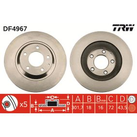 Bremsscheibe Bremsscheibendicke: 18mm, Lochanzahl: 5, Ø: 301mm mit OEM-Nummer F15226251