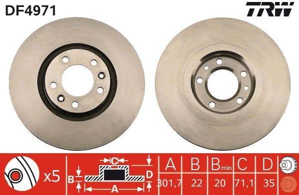 Bremsscheiben DF4971 TRW DF4971 in Original Qualität