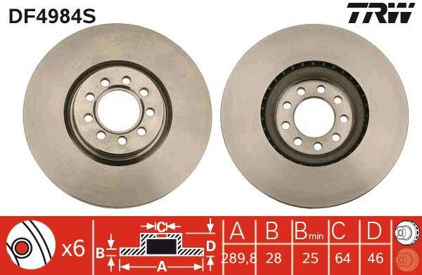 Bremsscheiben DF4984S TRW DF4984S in Original Qualität