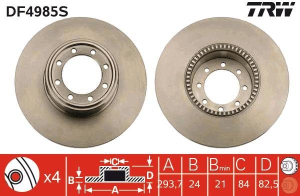 Bremsscheiben DF4985S TRW DF4985S in Original Qualität