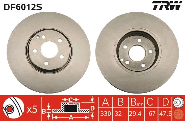 Brake Discs DF6012S TRW DF6012S original quality