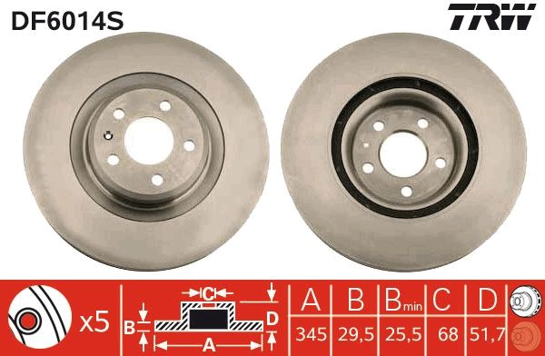Brake Discs DF6014S TRW DF6014S original quality