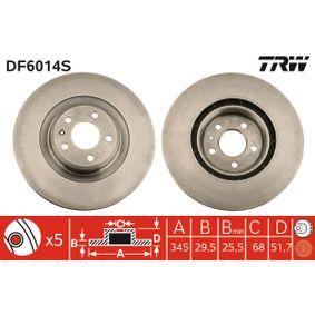 Brake Disc Brake Disc Thickness: 29,5mm, Num. of holes: 5, Ø: 345mm with OEM Number 8K0 615 301 Q