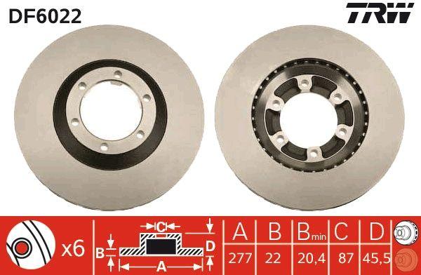 Bremsscheiben DF6022 TRW DF6022 in Original Qualität
