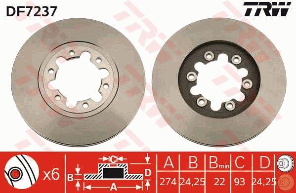 TRW  DF7237 Bremsscheibe Bremsscheibendicke: 24mm, Lochanzahl: 6, Ø: 274mm