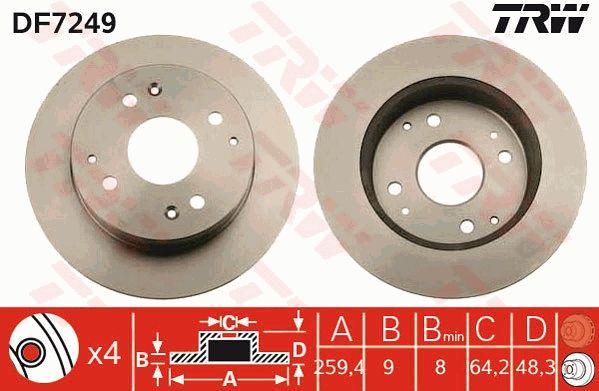 Bremsscheiben DF7249 TRW DF7249 in Original Qualität