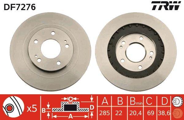 TRW  DF7276 Bremsscheibe Bremsscheibendicke: 22mm, Lochanzahl: 5, Ø: 285mm