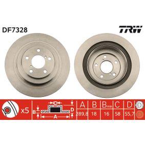 TRW  DF7328 Bremsscheibe Bremsscheibendicke: 18mm, Lochanzahl: 5, Ø: 290mm