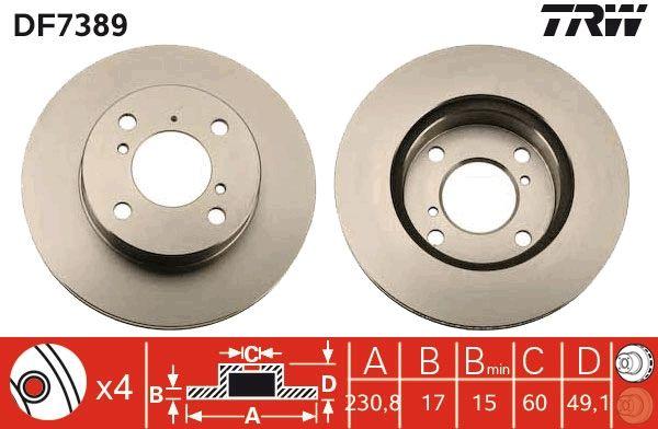 TRW  DF7389 Bremsscheibe Bremsscheibendicke: 17mm, Lochanzahl: 4, Ø: 231mm