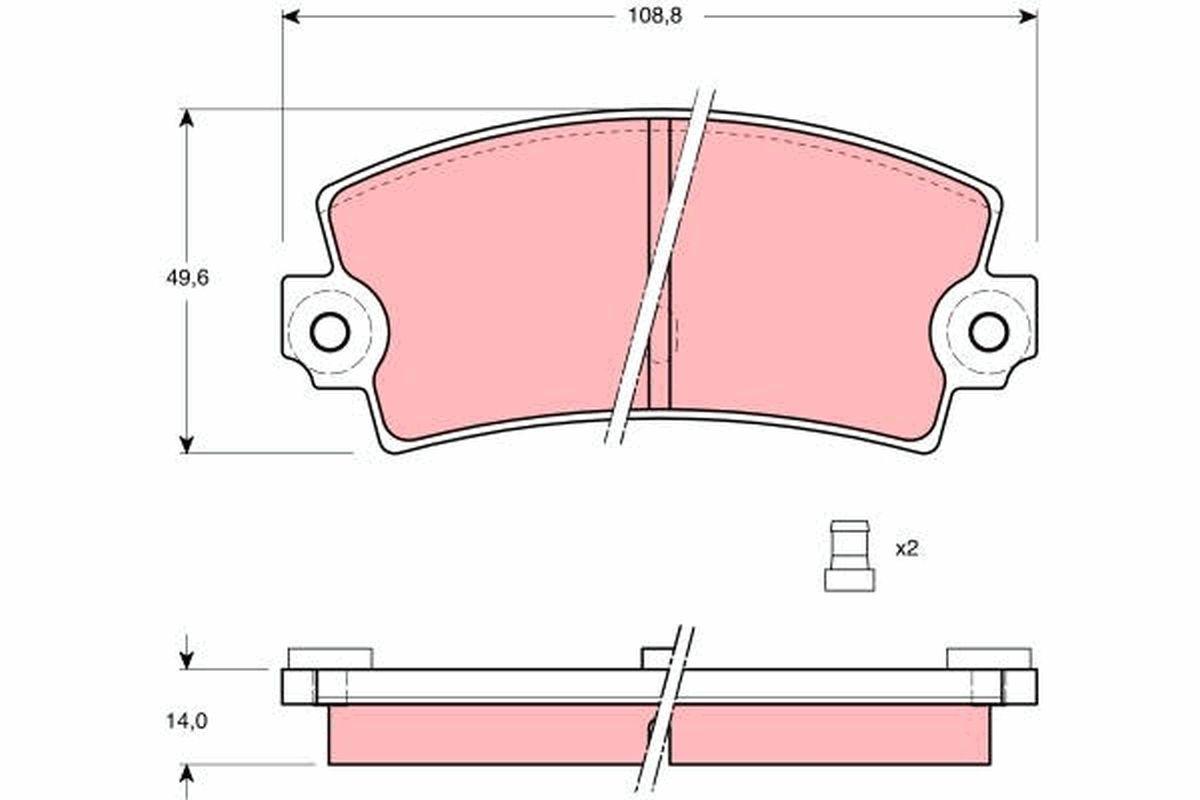 TRW  GDB149 Bremsbelagsatz, Scheibenbremse Höhe: 49,6mm, Dicke/Stärke: 14mm