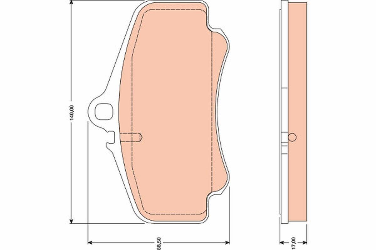 TRW  GDB1777 Bremsbelagsatz, Scheibenbremse Höhe: 88,5mm, Dicke/Stärke: 17,0mm