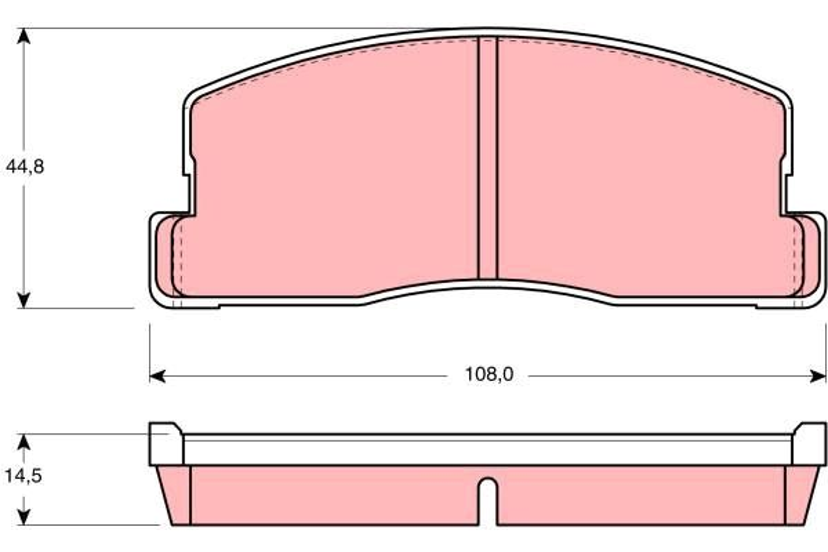 TRW  GDB286 Bremsbelagsatz, Scheibenbremse Höhe: 44,8mm, Dicke/Stärke: 14,5mm