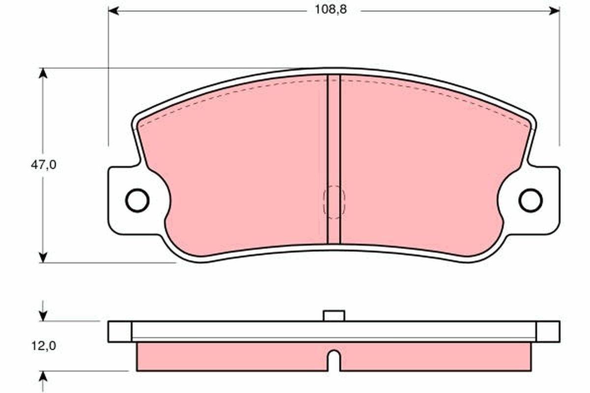 TRW  GDB360 Bremsbelagsatz, Scheibenbremse Höhe: 47mm, Dicke/Stärke: 12mm