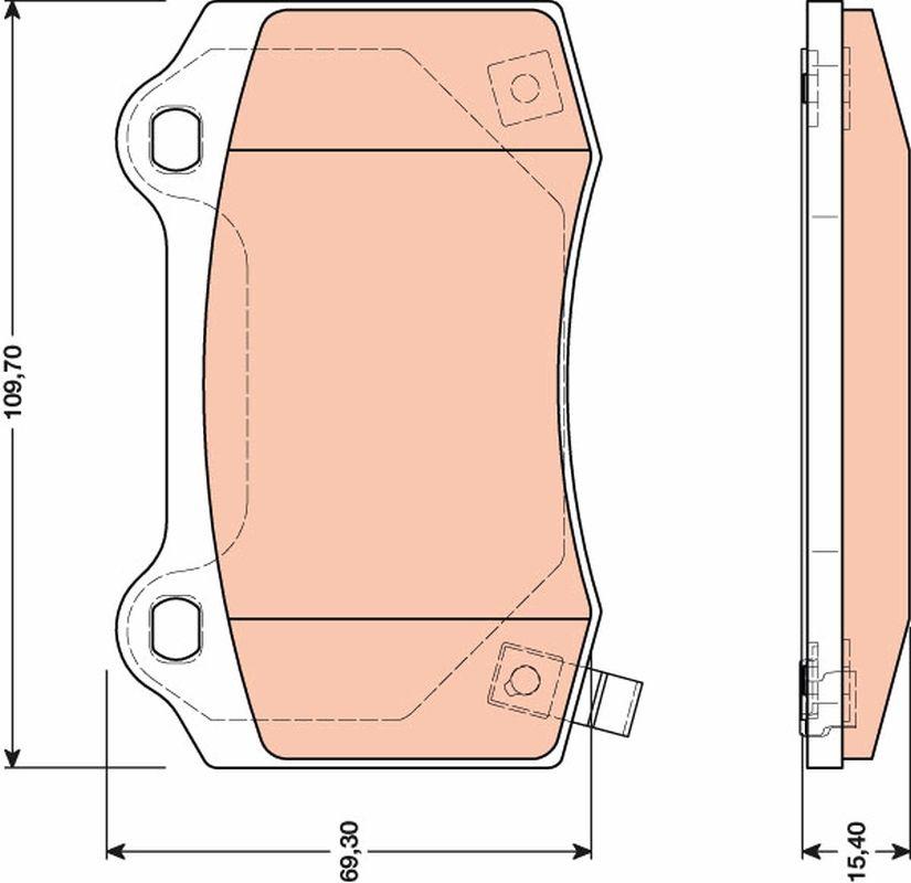 TRW  GDB4171 Bremsbelagsatz, Scheibenbremse Höhe: 69,3mm, Dicke/Stärke: 15,4mm