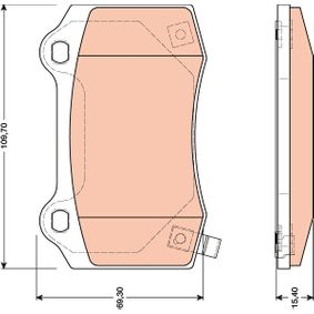 Bremsbelagsatz, Scheibenbremse Höhe: 69,3mm, Dicke/Stärke: 15,4mm mit OEM-Nummer 5174 327AB
