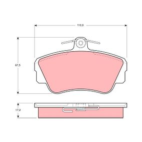 Brake Pad Set, disc brake Height: 67,5mm, Thickness: 17,2mm with OEM Number 3344787