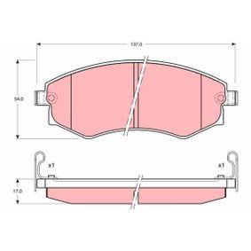 Bremsbelagsatz, Scheibenbremse Höhe: 54mm, Dicke/Stärke: 17mm mit OEM-Nummer 58101 28A20
