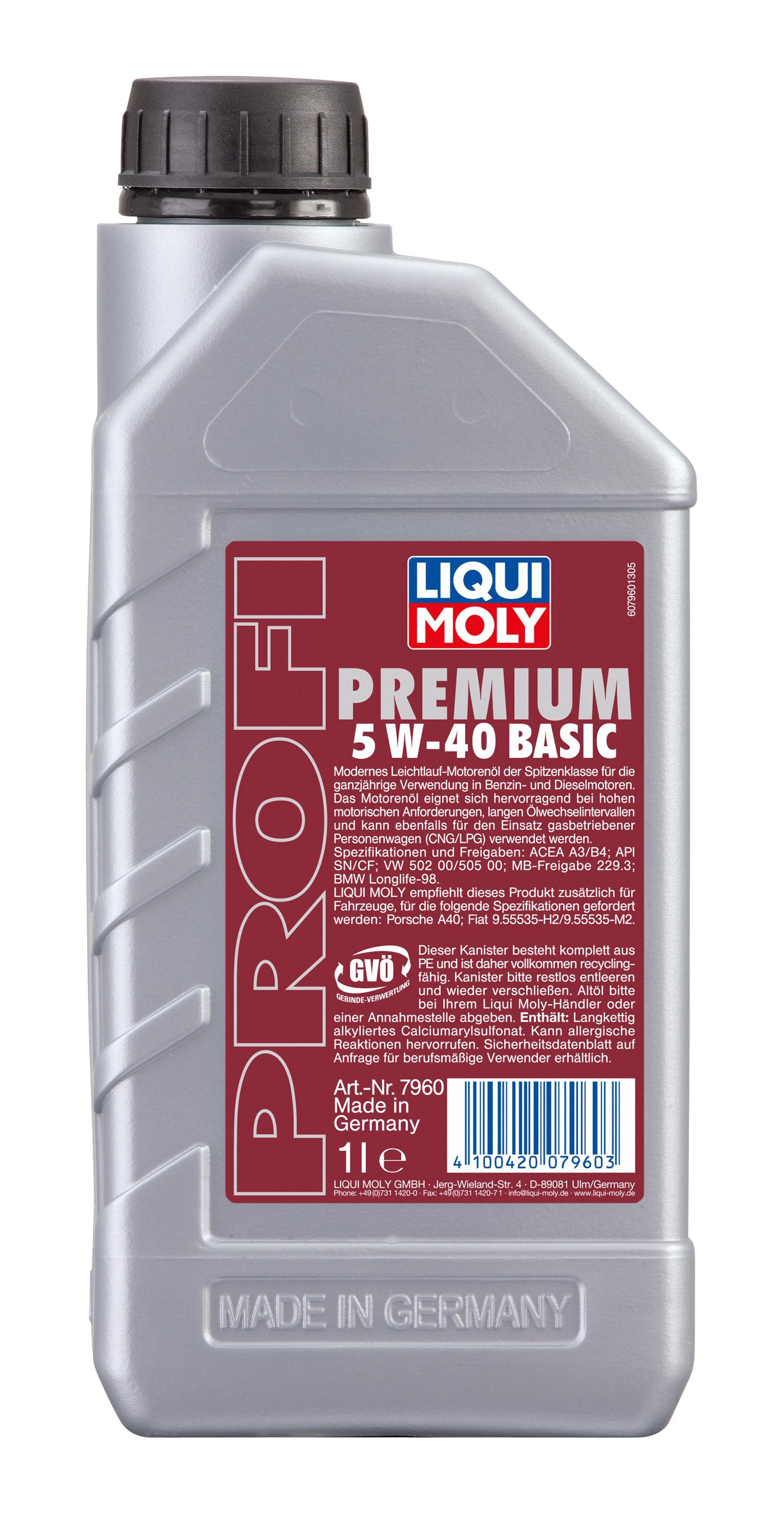 Motoröl 7960 LIQUI MOLY ProfiPremium5W40Basic in Original Qualität