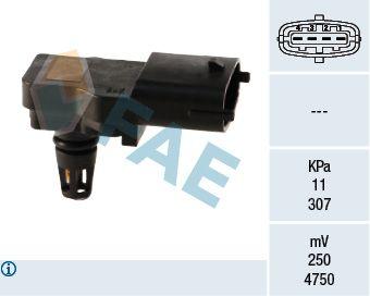 FAE  15036 Sensor, presión colector de admisión Número de polos: 4polos