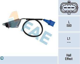 FAE  79108 Sensor, posición arbol de levas Número de polos: 3polos, Long. cable: 500mm