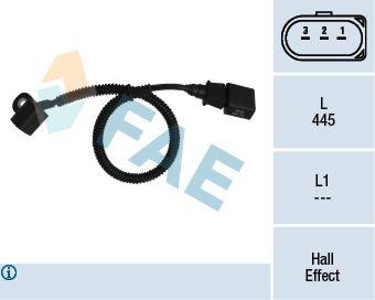 FAE  79164 Sensor, posición arbol de levas Número de polos: 3polos, Long. cable: 445mm