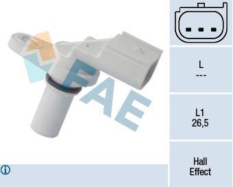 FAE  79246 Sensor, posición arbol de levas Número de polos: 3polos