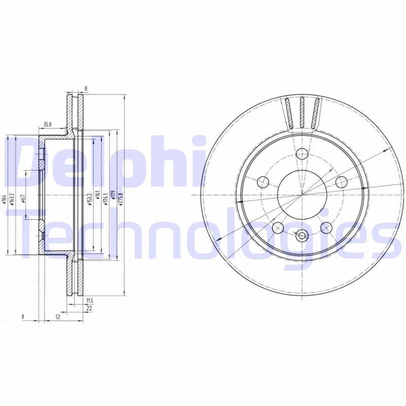 DELPHI  BG3296 Bremsscheibe Bremsscheibendicke: 22mm, Lochanzahl: 5, Ø: 276mm