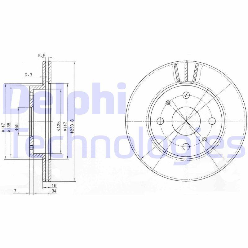 DELPHI  BG3555 Bremsscheibe Bremsscheibendicke: 16mm, Lochanzahl: 4, Ø: 234mm