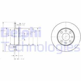 Sistema de pré-aquecimento do motor (eléctrico) OPEL CORSA C Caixa (F08, W5L) 1.2 80 CV de Ano 07.2005: Disco de travão (BG3567) para de DELPHI