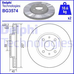 Cuerpo de Mariposa FIAT STILO (192) 1.6 16V (192_XB1A) de Año 10.2001 103 CV: Disco de freno (BG3574) para de DELPHI
