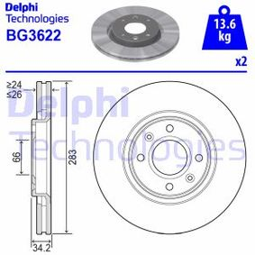 Sensor del Pedal del Acelerador PEUGEOT 307 SW (3H) 1.6 BioFlex de Año 09.2007 109 CV: Disco de freno (BG3622) para de DELPHI