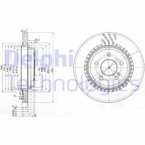 Bremsscheibe Bremsscheibendicke: 22mm, Lochanzahl: 5, Ø: 300mm mit OEM-Nummer 2104210812