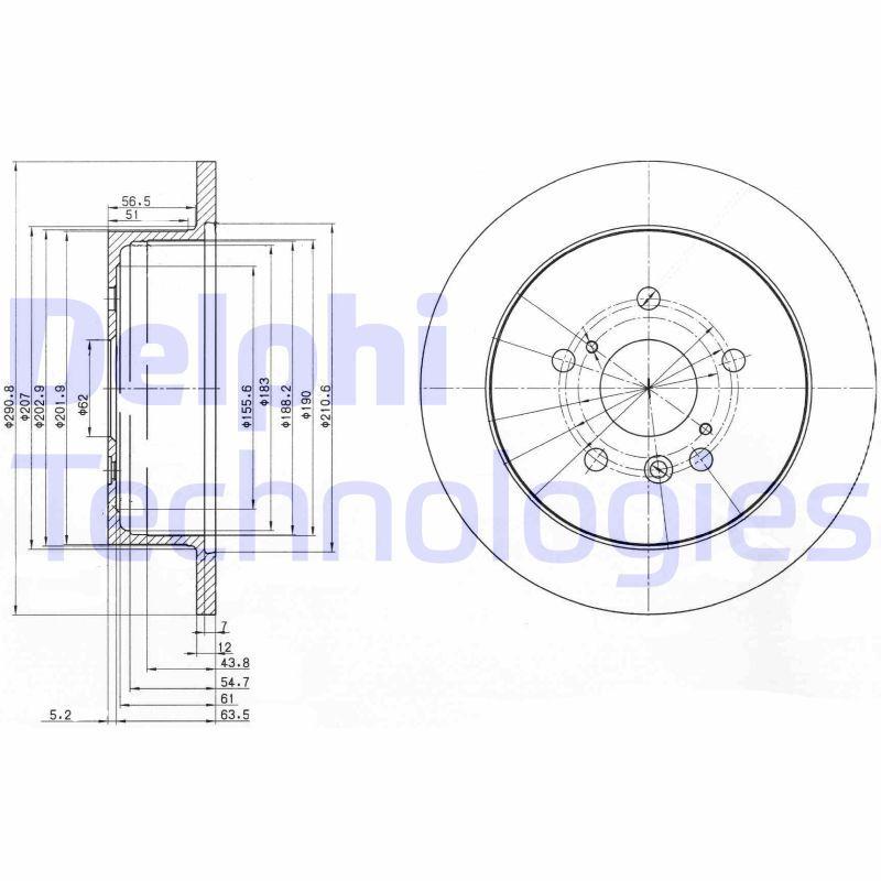 DELPHI  BG3779 Bremsscheibe Bremsscheibendicke: 12mm, Lochanzahl: 5, Ø: 291mm