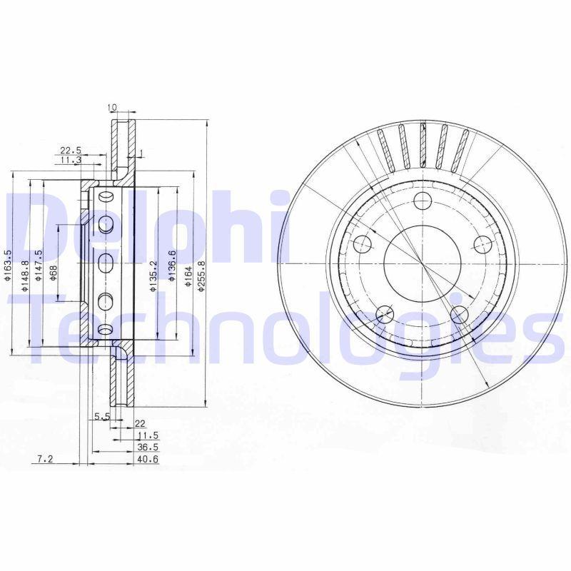 DELPHI  BG3785 Bremsscheibe Bremsscheibendicke: 22mm, Ø: 256mm