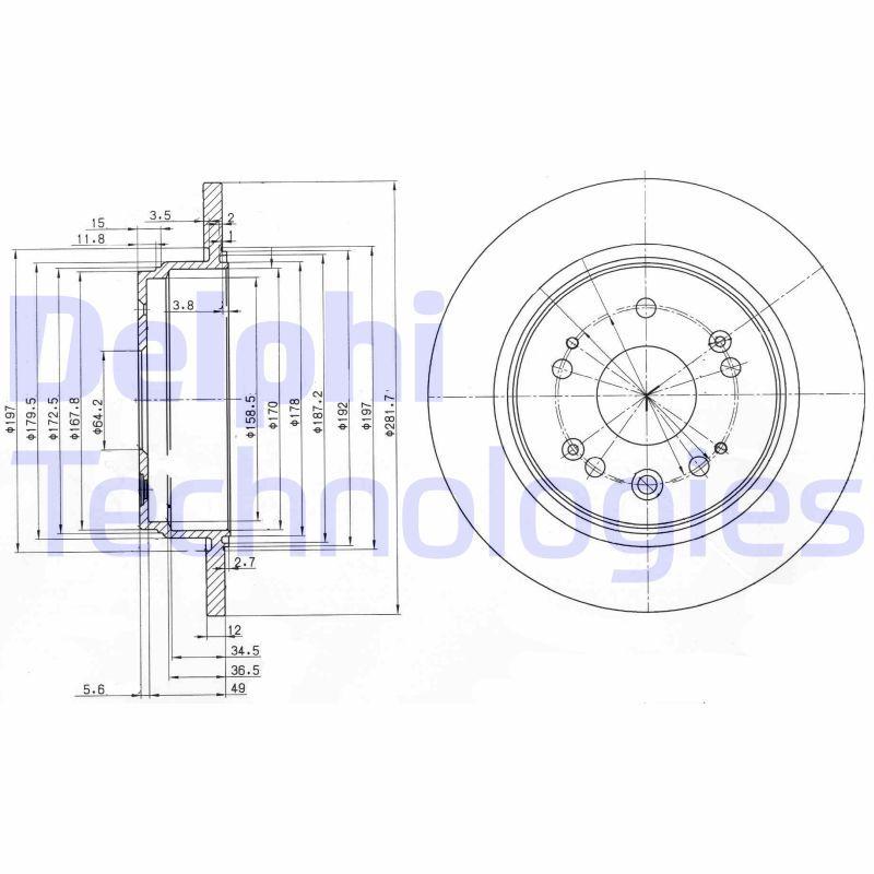 DELPHI  BG3797 Bremsscheibe Bremsscheibendicke: 12mm, Lochanzahl: 5, Ø: 282mm