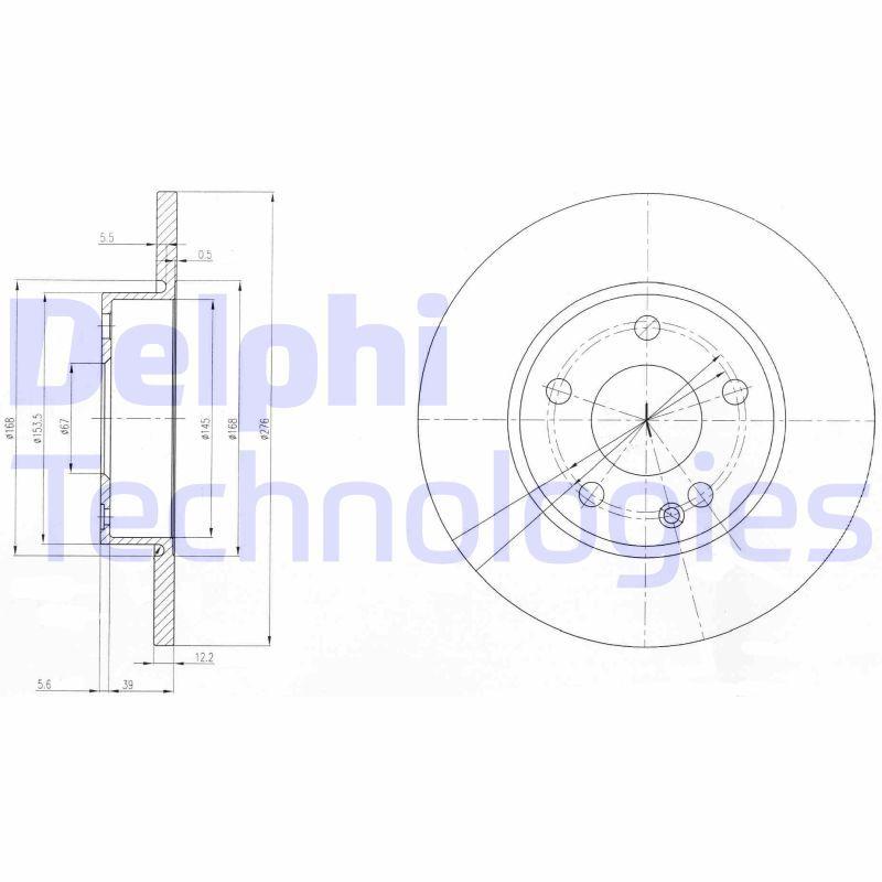 DELPHI  BG3840 Bremsscheibe Bremsscheibendicke: 12mm, Lochanzahl: 5, Ø: 276mm