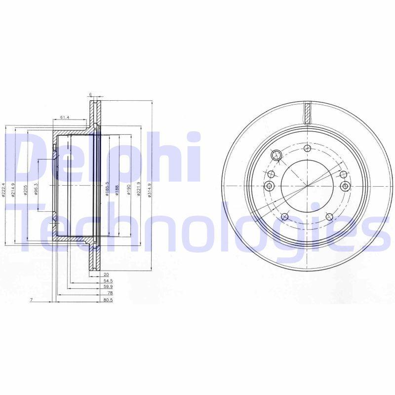 DELPHI  BG3859 Bremsscheibe Bremsscheibendicke: 20mm, Lochanzahl: 5, Ø: 315mm