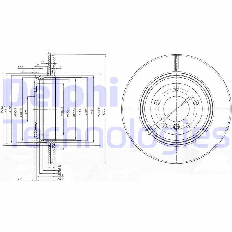 DELPHI  BG3872 Bremsscheibe Bremsscheibendicke: 20mm, Lochanzahl: 5, Ø: 320mm